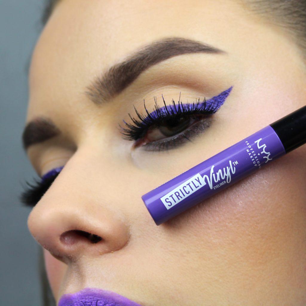 violet eyeliner fioletowy makijaż kreska paznocie