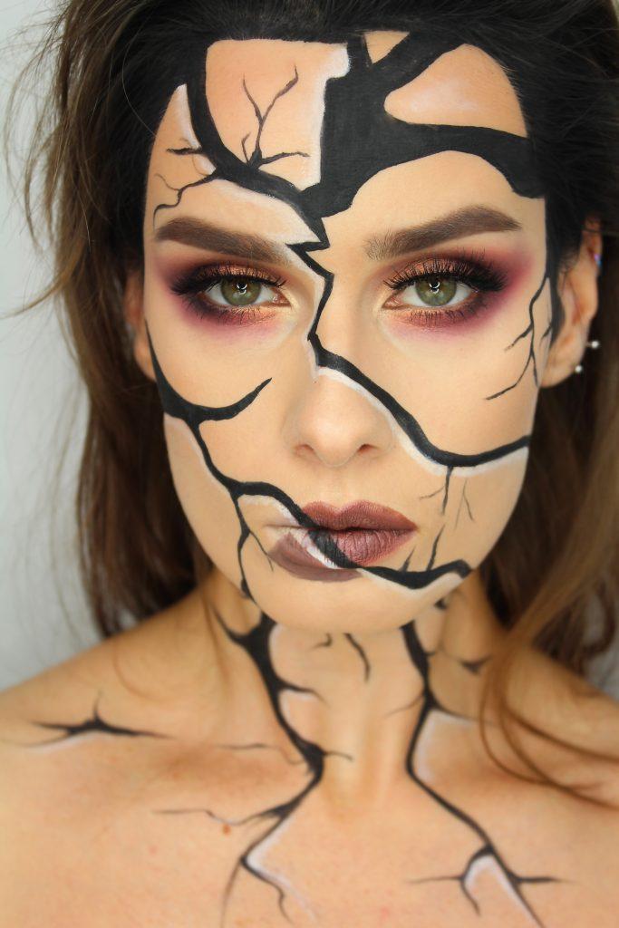 potłuczona twarz halloween charakteryzacja makijaż