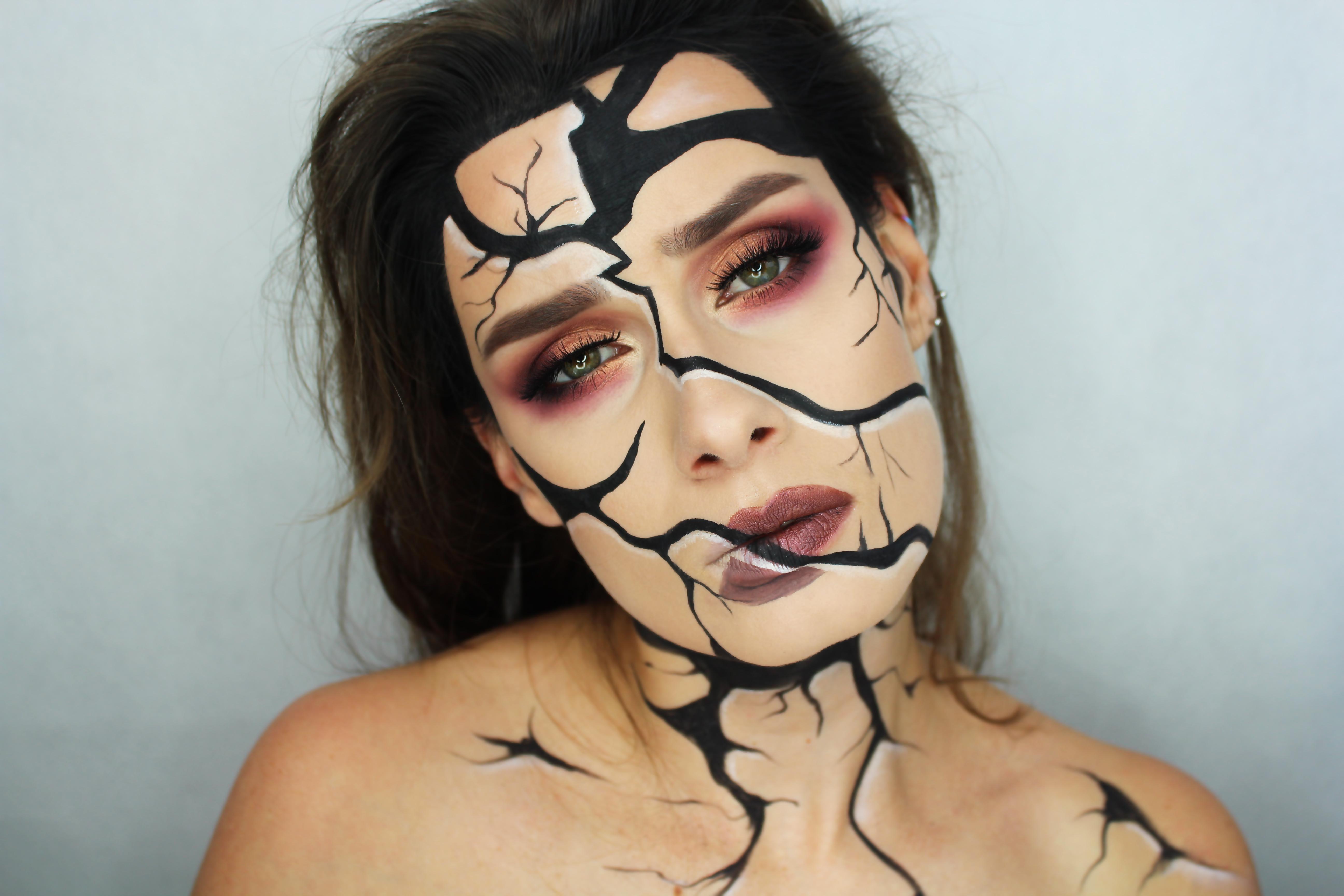 potłuczona twarz - halloween charakteryzacja makijaż