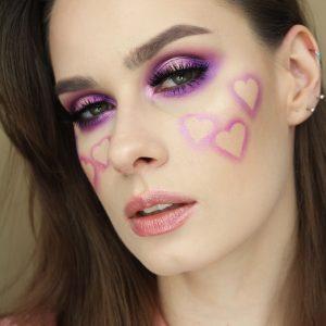 Walentynki Makijaż walentynkowy w różu i fiolecie